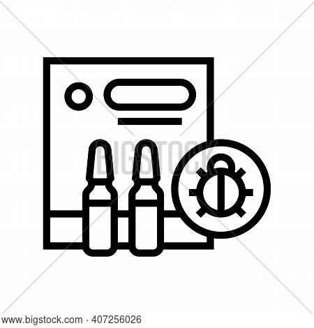 Protection Liquid From Ticks Line Icon Vector. Protection Liquid From Ticks Sign. Isolated Contour S