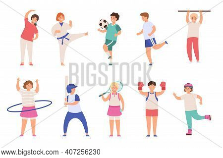 Sport Kids. Children Play Football And Tennis, Doing Exercise And Karate, Run And Boxing. Boys And G