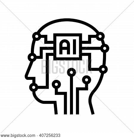 Artificial Intelligence Technology Line Icon Vector. Artificial Intelligence Technology Sign. Isolat