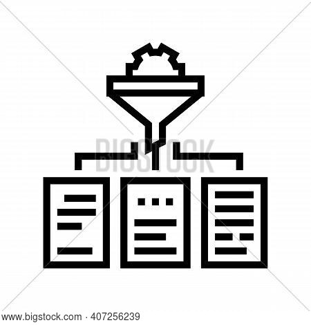 Filtration Neural Network Line Icon Vector. Filtration Neural Network Sign. Isolated Contour Symbol