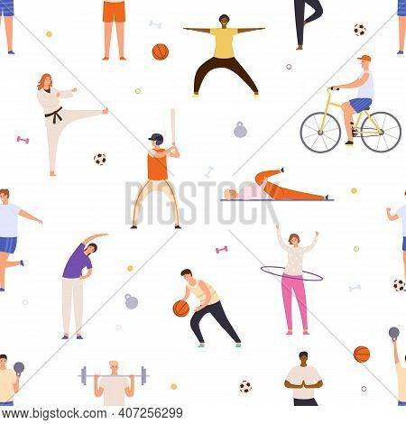 People Exercise Seamless Pattern. Active Man And Woman Do Yoga, Sport, Ride Bicycle And Play Basketb