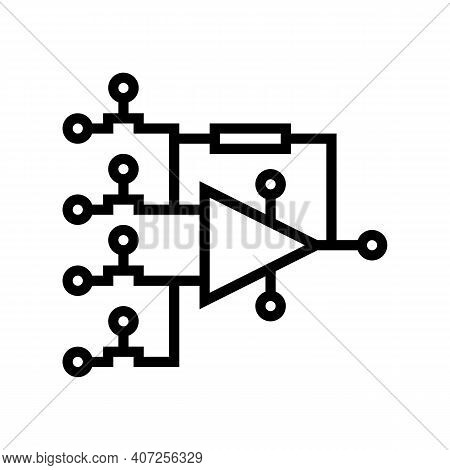 Hardware Model Neural Network Line Icon Vector. Hardware Model Neural Network Sign. Isolated Contour