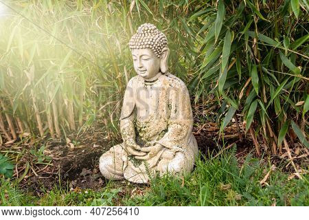 Sitting Buddha Figurine Mediating, Situated In A Sunny Garden And Surrounded By Bamboo Leaves
