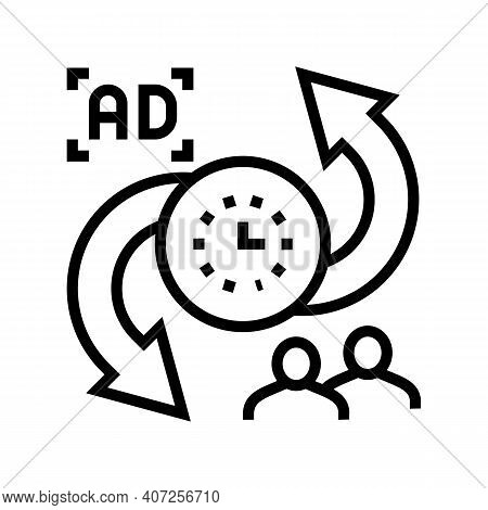 Advertise To Buyers Clients Converter Line Icon Vector. Advertise To Buyers Clients Converter Sign.