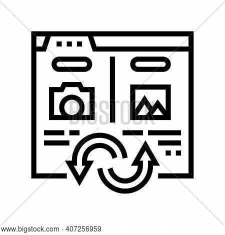 Photo, Image And Picture Converter Line Icon Vector. Photo, Image And Picture Converter Sign. Isolat