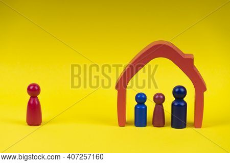 Wooden Figures, Miniature Father And Children Standing Inside The House And Mother Standing Alone On