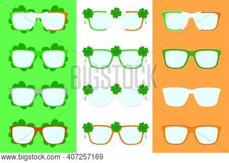 Illustration On Theme Irish Holiday St Patrick Day, Big Set Color Eyeglasses. Pattern St Patrick Day