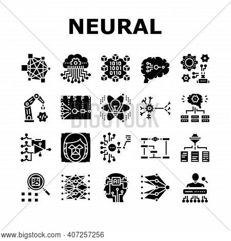 Neural Network And Ai Collection Icons Set Vector. Biological And Binary Neural Network, Mathematica