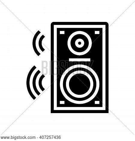 Dynamic Speaker Glyph Icon Vector. Dynamic Speaker Sign. Isolated Contour Symbol Black Illustration