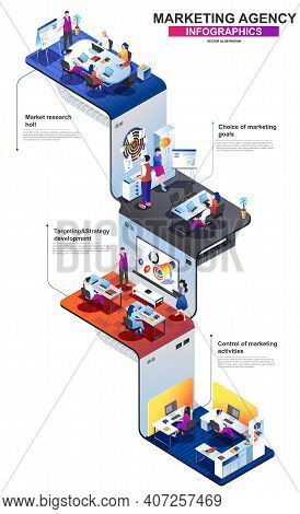 Marketing Agency Modern Isometric Infographics. 3d Isometry Graphic Design With Marketing Research T