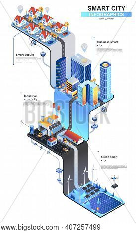 Smart City Modern Isometric Infographics. 3d Isometry Graphic Design With Subur, Business Center, Gr