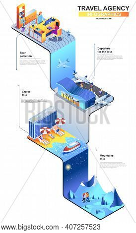 Travel Agency Modern Isometric Infographics. 3d Isometry Graphic Design Concept With Airport, Travel