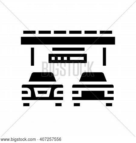 Bridge Traffic Jam Glyph Icon Vector. Bridge Traffic Jam Sign. Isolated Contour Symbol Black Illustr