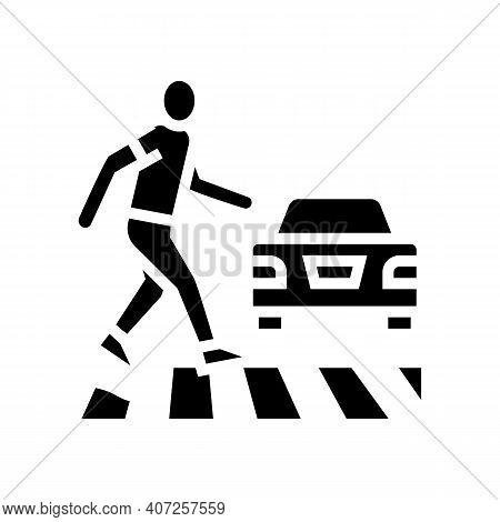 Human Crossing Road On Crosswalk Glyph Icon Vector. Human Crossing Road On Crosswalk Sign. Isolated