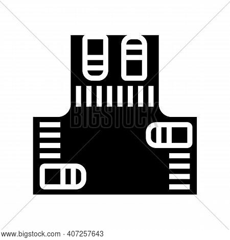 Crossroads With Cars Glyph Icon Vector. Crossroads With Cars Sign. Isolated Contour Symbol Black Ill