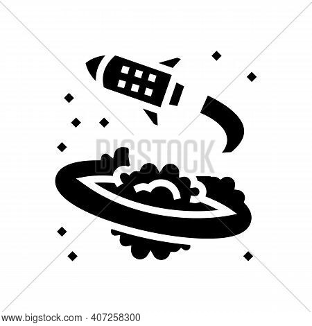Rocket Flying Around Planet Glyph Icon Vector. Rocket Flying Around Planet Sign. Isolated Contour Sy
