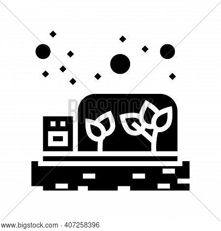 Greenhouse With Growing Plants On Mars Glyph Icon Vector. Greenhouse With Growing Plants On Mars Sig