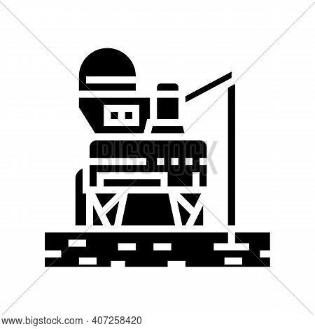 Space Base Construction Glyph Icon Vector. Space Base Construction Sign. Isolated Contour Symbol Bla