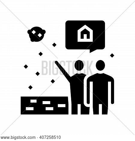 Human Showing Space House In Sky Glyph Icon Vector. Human Showing Space House In Sky Sign. Isolated