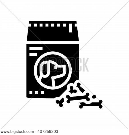 Delicacy Food For Dog Glyph Icon Vector. Delicacy Food For Dog Sign. Isolated Contour Symbol Black I