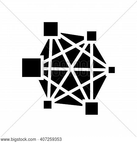 Neural Network Glyph Icon Vector. Neural Network Sign. Isolated Contour Symbol Black Illustration