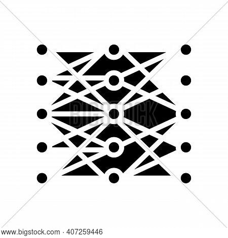 Multilayer Neural Network Glyph Icon Vector. Multilayer Neural Network Sign. Isolated Contour Symbol