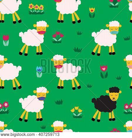 Coronavirus Social Distancing Sheep Wearing Protective Face Mask Seamless Vector Pattern. Repeating