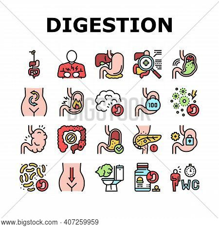 Digestion Disease And Treatment Icons Set Vector. Digestion System And Gastrointestinal Tract, Exami
