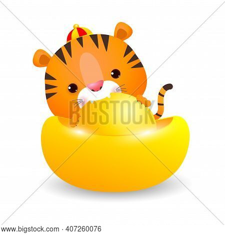 Little Tiger With Chinese Gold Ingots And Happy Chinese New Year 2022 Year Of The Tiger Zodiac Of An