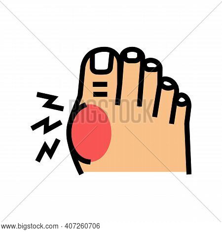 Pain In Big Toe Color Icon Vector. Pain In Big Toe Sign. Isolated Symbol Illustration