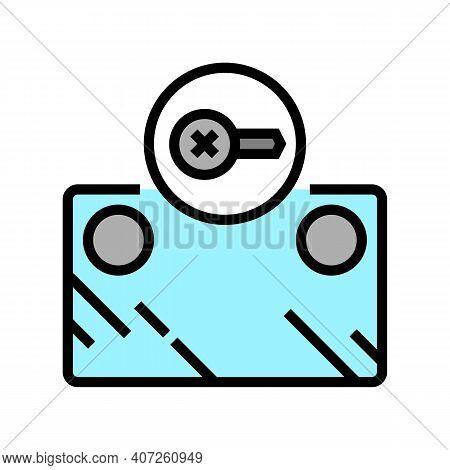Screw Instalation Mirror Color Icon Vector. Screw Instalation Mirror Sign. Isolated Symbol Illustrat