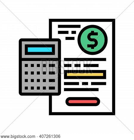 Capital Calculating Color Icon Vector. Capital Calculating Sign. Isolated Symbol Illustration