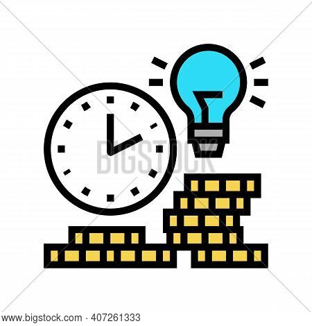 Earning Money Time Color Icon Vector. Earning Money Time Sign. Isolated Symbol Illustration