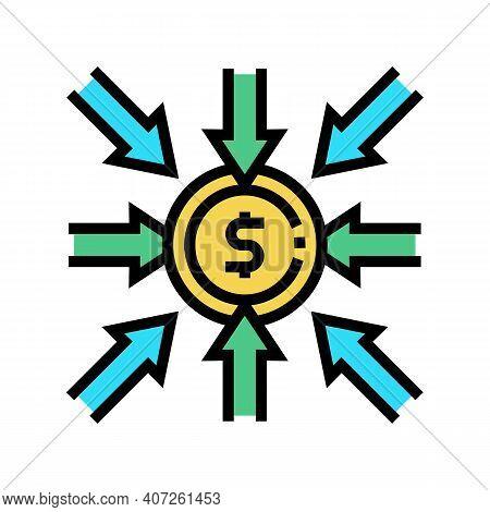 Income Money Color Icon Vector. Income Money Sign. Isolated Symbol Illustration
