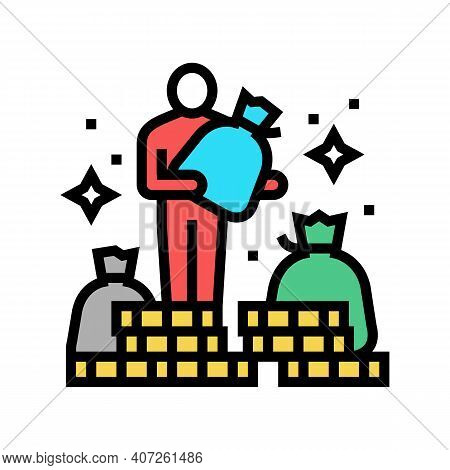 Human Financial Wealth Color Icon Vector. Human Financial Wealth Sign. Isolated Symbol Illustration