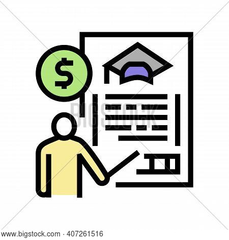 For Education Allowance Color Icon Vector. For Education Allowance Sign. Isolated Symbol Illustratio