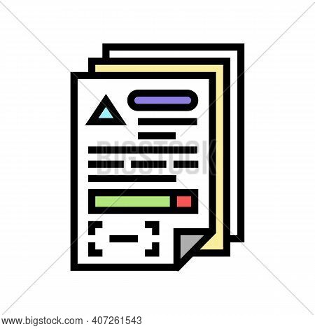 Documents For Allowance Color Icon Vector. Documents For Allowance Sign. Isolated Symbol Illustratio