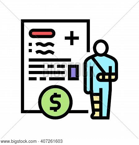 Injuries Allowance Color Icon Vector. Injuries Allowance Sign. Isolated Symbol Illustration