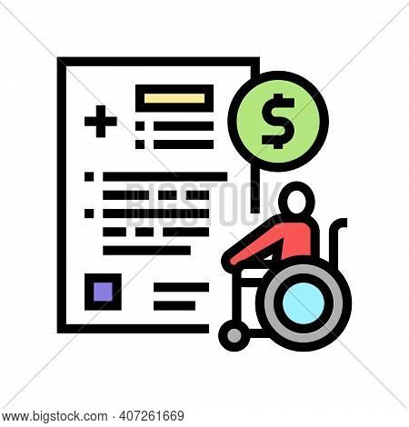 Disabled Allowance Color Icon Vector. Disabled Allowance Sign. Isolated Symbol Illustration