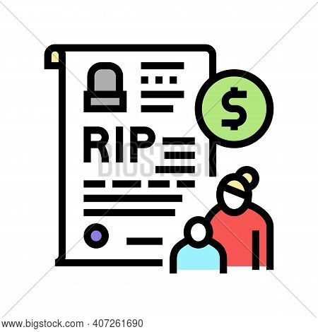 Loss Of Breadwinner Allowance Color Icon Vector. Loss Of Breadwinner Allowance Sign. Isolated Symbol