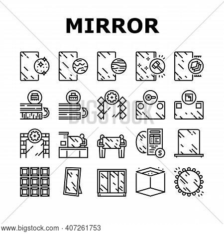 Mirror Installation Collection Icons Set Vector. Silver, Bronze Or Graphite Mirror, Making For Wardr