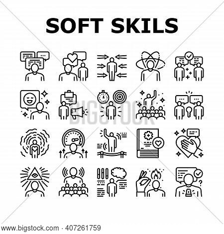 Soft Skills People Collection Icons Set Vector. Creativity And Decision Making, Understanding Body L