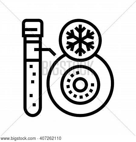 Freezing Embryo Line Icon Vector. Freezing Embryo Sign. Isolated Contour Symbol Black Illustration