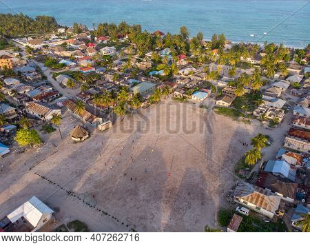 Aerial View On Township Poor Houses Favelas In Paje Village, Zanzibar, Tanzania, Africa