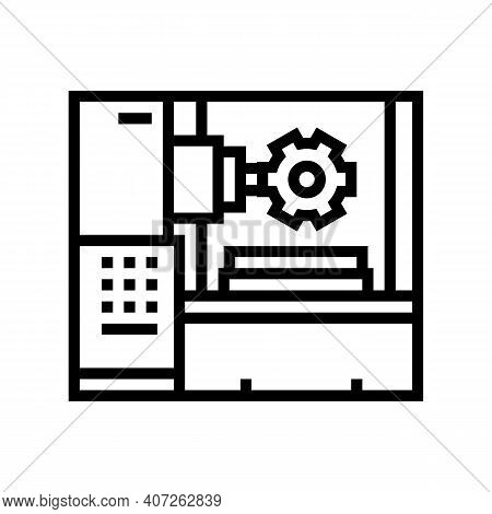 Gear-machined Apparatus Line Icon Vector. Gear-machined Apparatus Sign. Isolated Contour Symbol Blac