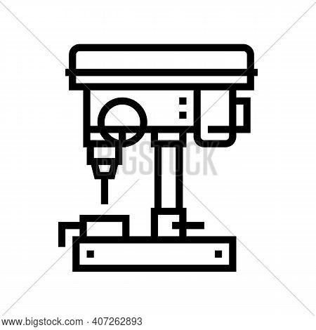 Drilling Machine Line Icon Vector. Drilling Machine Sign. Isolated Contour Symbol Black Illustration