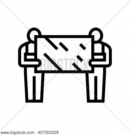 Installers Holding Mirror Line Icon Vector. Installers Holding Mirror Sign. Isolated Contour Symbol