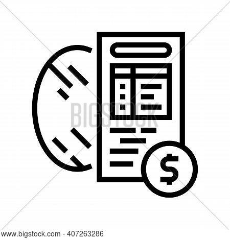 Cost Calculation, Mirror Price Line Icon Vector. Cost Calculation, Mirror Price Sign. Isolated Conto
