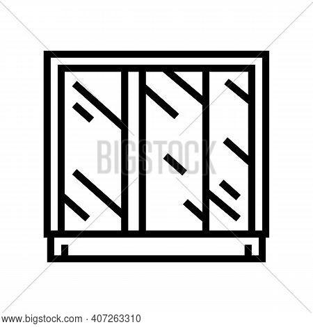 Wardrobe Mirror Line Icon Vector. Wardrobe Mirror Sign. Isolated Contour Symbol Black Illustration