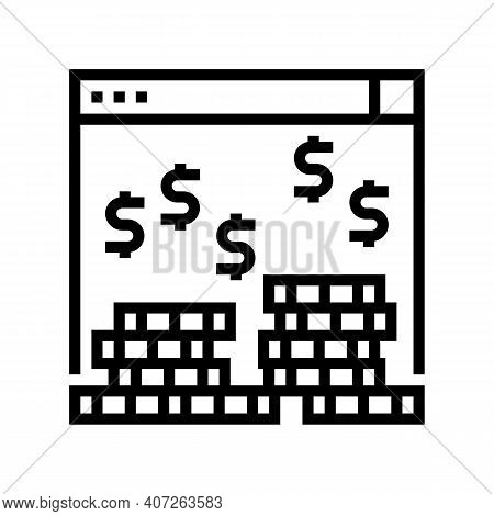 Earning Money In Internet Line Icon Vector. Earning Money In Internet Sign. Isolated Contour Symbol